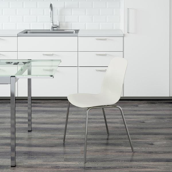 LEIFARNE Chair, white/Broringe chrome-plated