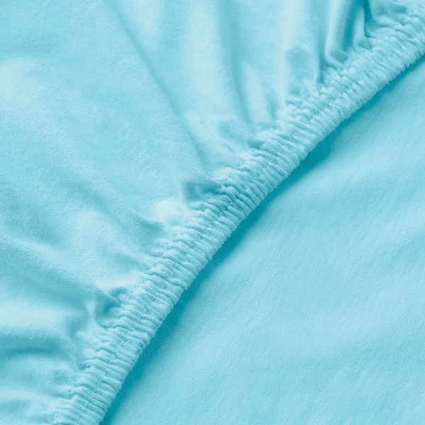 LEN Fitted sheet, blue, 80x165 cm
