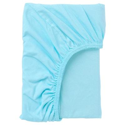 LEN Fitted sheet, blue, 80x165 cm