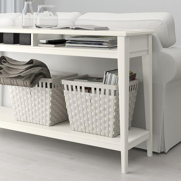LIATORP Console table, white/glass, 133x37 cm