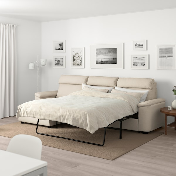 LIDHULT 3-seat sofa-bed, with chaise longue/Gassebol light beige