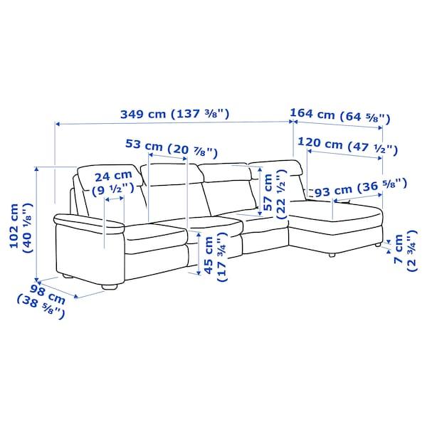 LIDHULT 4-seat sofa with chaise longue/Lejde grey/black 102 cm 74 cm 164 cm 349 cm 98 cm 128 cm 7 cm 301 cm 53 cm 45 cm