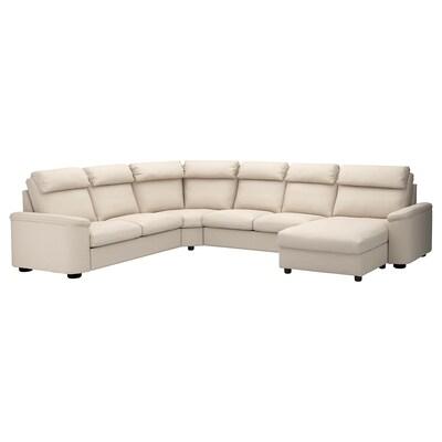 LIDHULT كنبة زاوية، 6 مقاعد, مع أريكة طويلة/Gassebol بيج فاتح