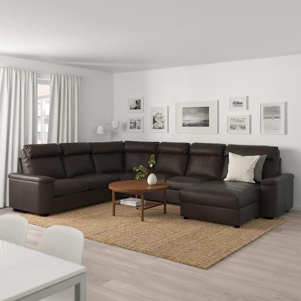 LIDHULT كنبة زاوية، 6 مقاعد, مع أريكة طويلة/Grann/Bomstad بني غامق
