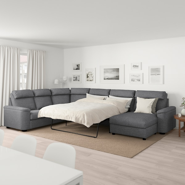 LIDHULT Corner sofa-bed, 6-seat, with chaise longue/Lejde grey/black