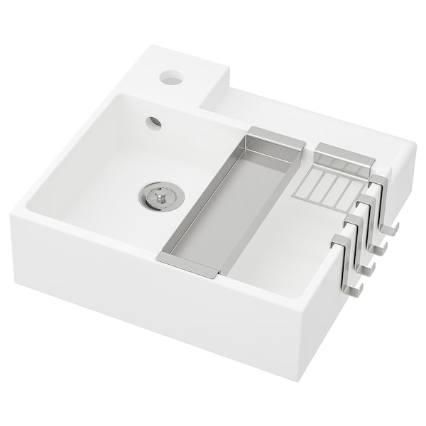 LILLÅNGEN Single wash-basin, white, 41x41x13 cm