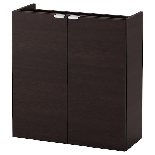 LILLÅNGEN Wash-basin cabinet with 2 doors, black-brown, 60x25x64 cm