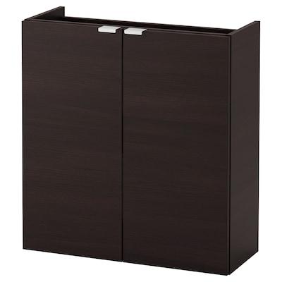 LILLÅNGEN وحدة تخزين الحوض مع بابين, أسود-بني, 60x25x64 سم