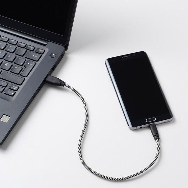 LILLHULT سلك USB إلى مايكرو USB, أسود/أبيض, 0.4 م