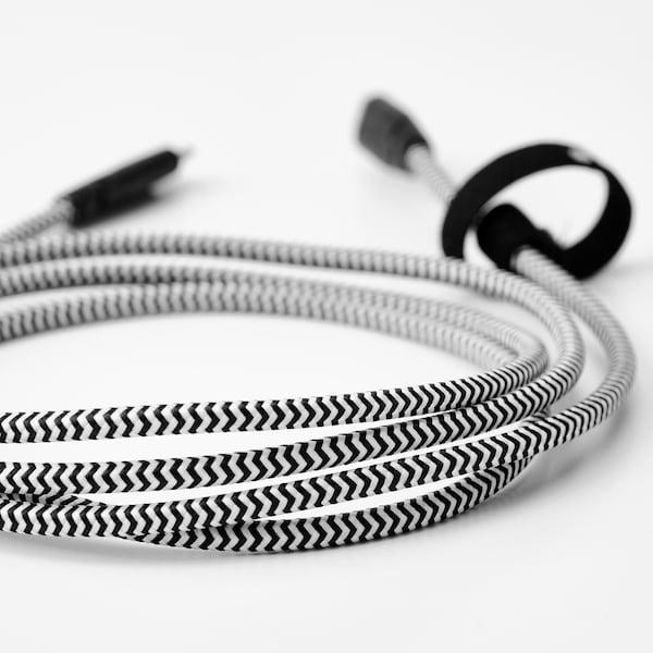 LILLHULT سلك USB نوع C إلى USB نوع C, أسود/ أبيض, 1.5 م