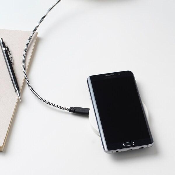 LILLHULT سلك USB-C إلى USB, أسود/أبيض, 0.4 م