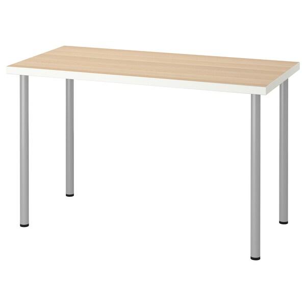 LINNMON / ADILS طاولة, أبيض مظهر سنديان مصبوغ أبيض/لون-فضي, 120x60 سم