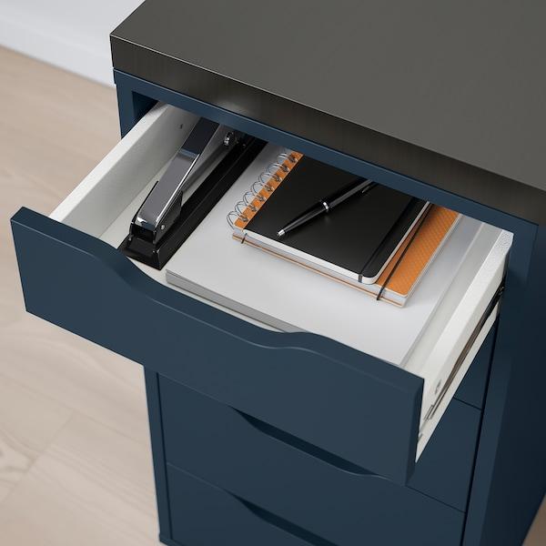 LINNMON / ALEX Table, black-brown/blue, 200x60 cm