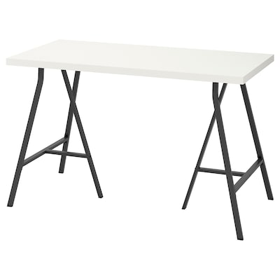 LINNMON / LERBERG Table, white/grey, 120x60 cm