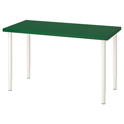 LINNMON / OLOV Table, green/white, 120x60 cm