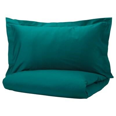 LUKTJASMIN غطاء لحاف/مخدة, أخضر غامق, 150x200/50x80 سم