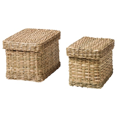 LURPASSA Box with lid, set of 2, seagrass