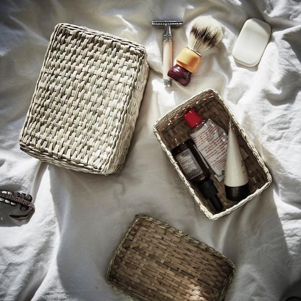LURPASSA Box with lid, set of 2, seagrass