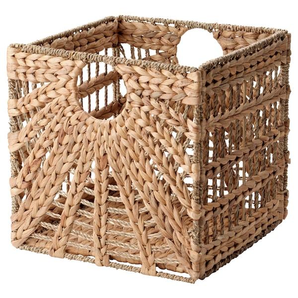 LUSTIGKURRE Basket, natural water hyacinth/seagrass, 32x33x32 cm