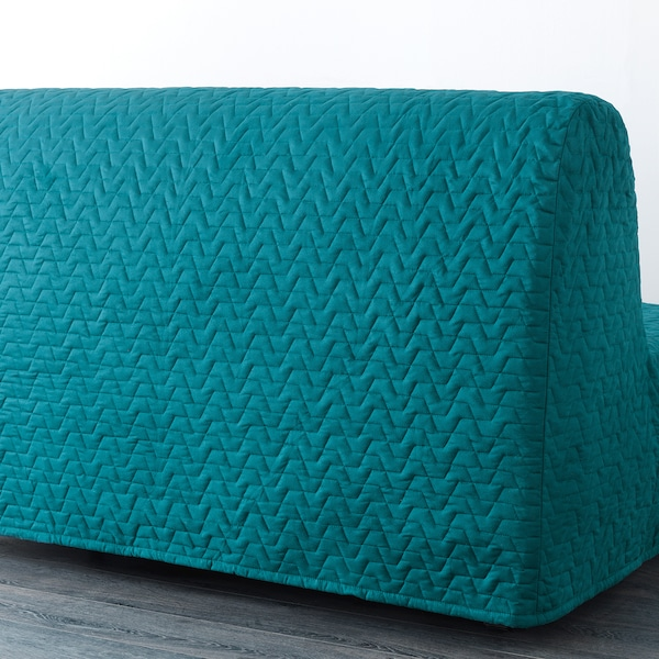 LYCKSELE MURBO Two-seat sofa-bed, Vallarum turquoise