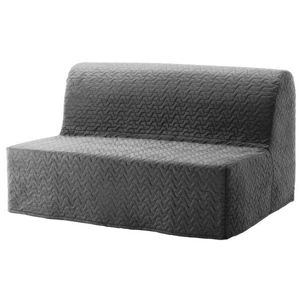 LYCKSELE غطاء لكنبة-سرير مقعدين, Vallarum رمادي