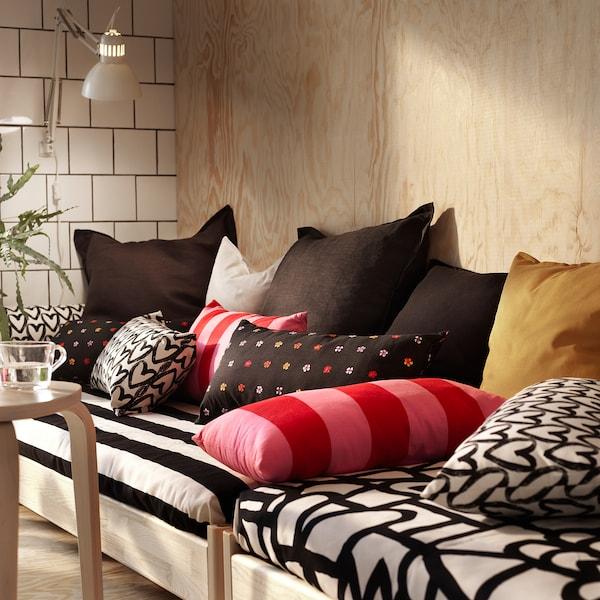 LYKTFIBBLA Cushion, white/black, 30x58 cm