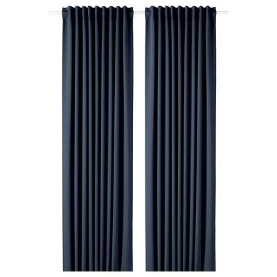 MAJGULL Block-out curtains, 1 pair, dark blue, 145x300 cm