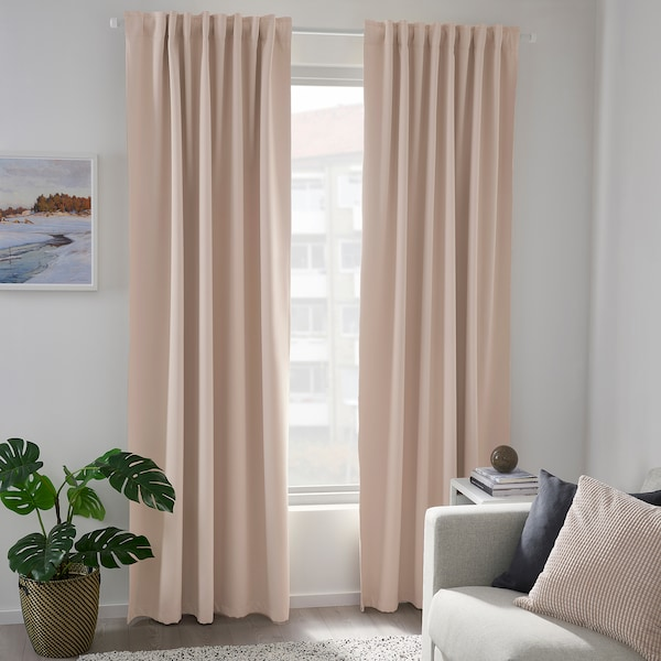 MAJGULL Fabric, room darkening/light grey-beige, 150 cm
