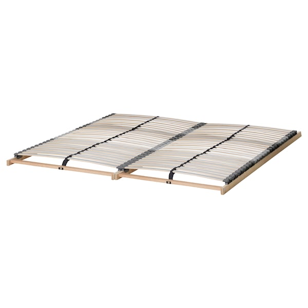 MALM Bed frame, high, white/Lönset, 160x200 cm