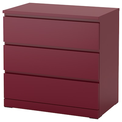 MALM Chest of 3 drawers, dark red, 80x78 cm