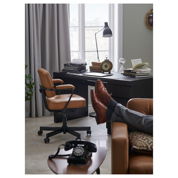 MALM Desk, black-brown, 140x65 cm