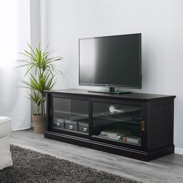 MALSJÖ طاولة تلفزيون مع أبواب جرارة, صباغ أسود, 160x48x59 سم