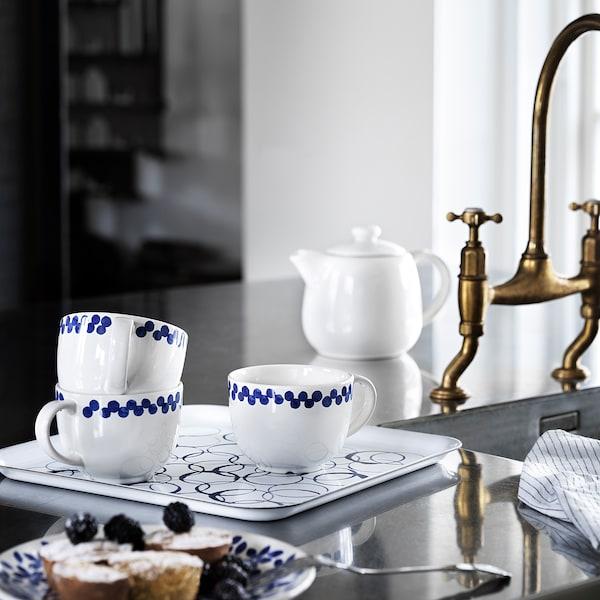 MEDLEM صينية, أبيض/أزرق, 33x33 سم