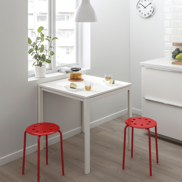 MELLTORP / MARIUS Table and 2 stools, white/red, 75 cm