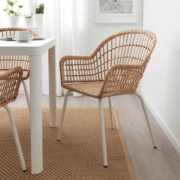 MELLTORP / NILSOVE Table and 2 chairs, white rattan/white, 75x75 cm