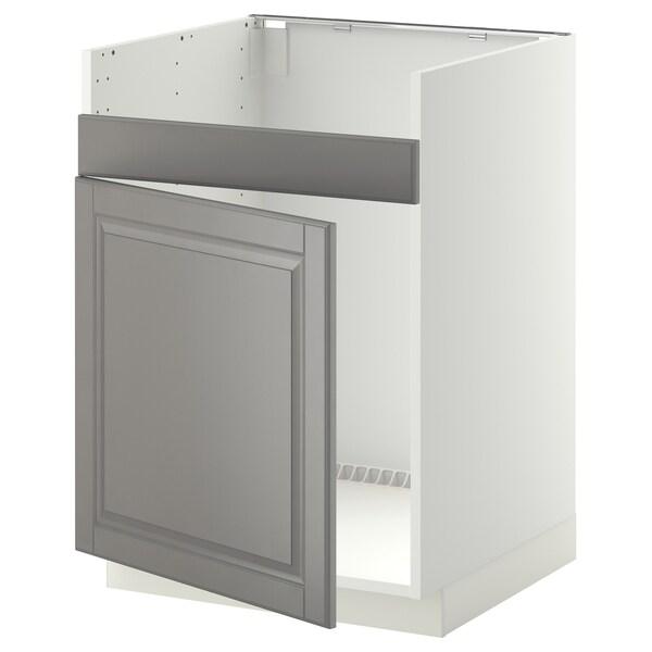 METOD Base cab f HAVSEN single bowl sink, white/Bodbyn grey, 60x60 cm