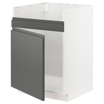 METOD خزانة قاعدة لحوض مفرد HAVSEN, أبيض/Voxtorp رمادي غامق, 60x60 سم
