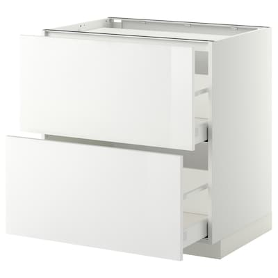 METOD Base cab f hob/2 fronts/2 drawers, white/Ringhult white, 80x60 cm