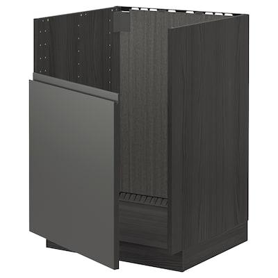 METOD Base cabinet f BREDSJÖN sink, black/Voxtorp dark grey, 60x60 cm