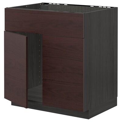 METOD Base cabinet f sink w 2 doors/front, black Askersund/dark brown ash effect, 80x60 cm