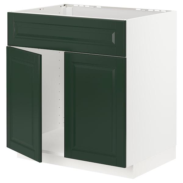 METOD Base cabinet f sink w 2 doors/front, white/Bodbyn dark green, 80x60 cm