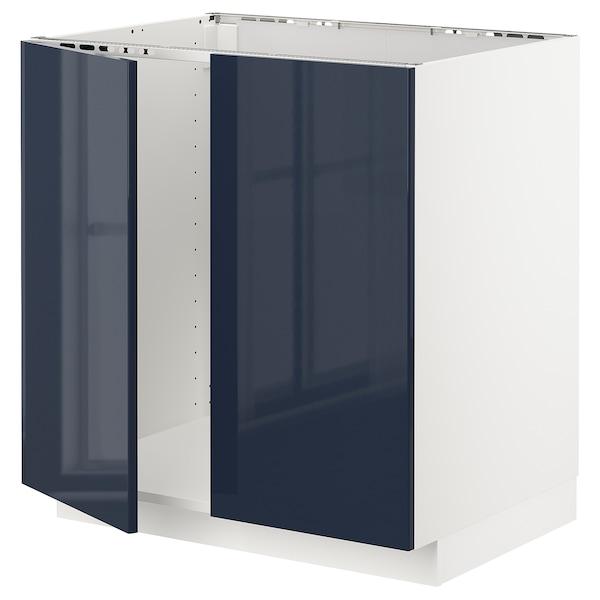 METOD Base cabinet for sink + 2 doors, white/Järsta black-blue, 80x60x80 cm