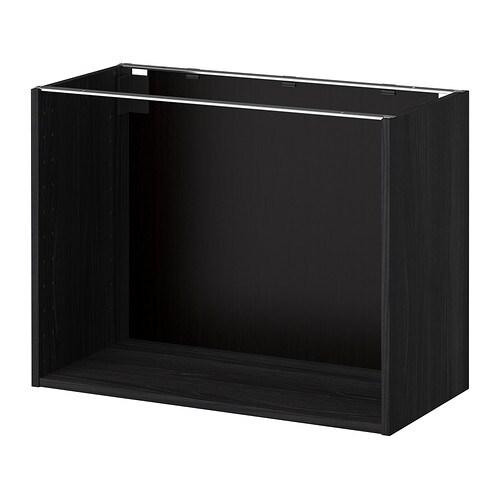 METOD Base cabinet frame, wood effect black