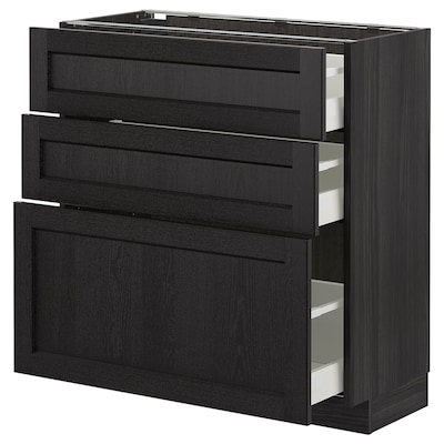 METOD وحدة تخزين ارضية  مع 3 أدراج, أسود/Lerhyttan صباغ أسود, 80x37 سم