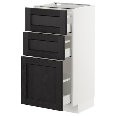 METOD Base cabinet with 3 drawers, white/Lerhyttan black stained, 40x37 cm