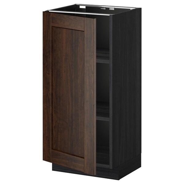 METOD خزانة قاعدة مع أرفف, أسود/Edserum بني, 40x37 سم