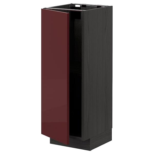 METOD Base cabinet with shelves, black Kallarp/high-gloss dark red-brown, 30x37 cm