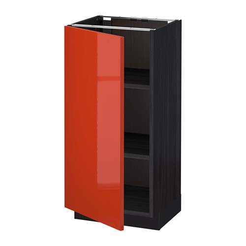 METOD Base cabinet with shelves  wood effect black