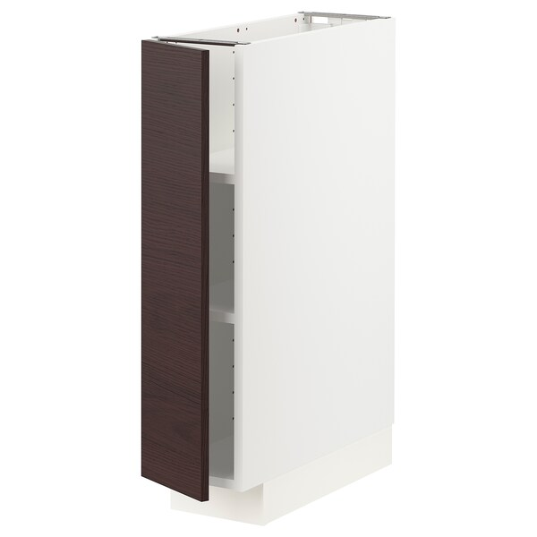 METOD Base cabinet with shelves, white Askersund/dark brown ash effect, 20x60 cm