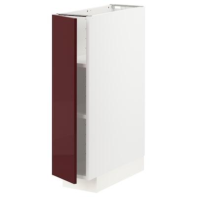 METOD وحدة تخزين ارضية مع رفوف, أبيض Kallarp/لامع أحمر-بني غامق, 20x60 سم